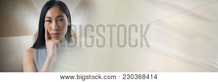 Digital composite of Businesswoman thinking in perspective room with transition