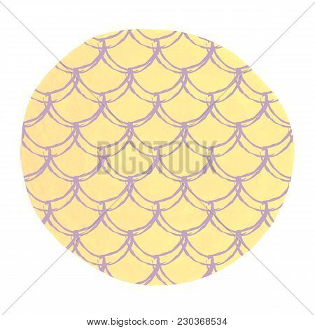 Mermaid Scale On Watercolor Background. Bright Colors. Hand Drawn Round Backdrop With Mermaid Scale