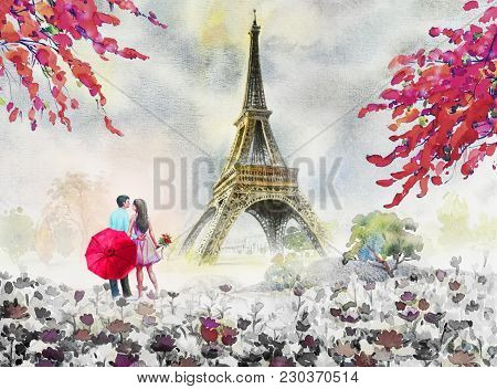 Paris European City Landscape. France, Eiffel Tower And Couple Lovers Man, Woman, Umbrella Red, Mode