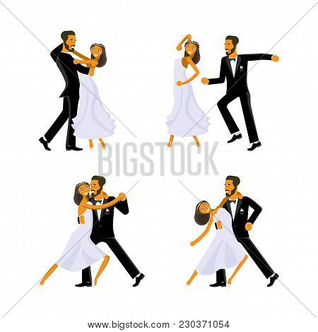 Happy Young Bride And Groom Are Dance On Their Wedding Day. Concept For The Studio, Wedding Dance Le