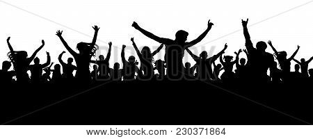 Crowd Cheerful People Silhouette. Joyful Mob. Happy Group Of Young People Dancing At Musical Party,