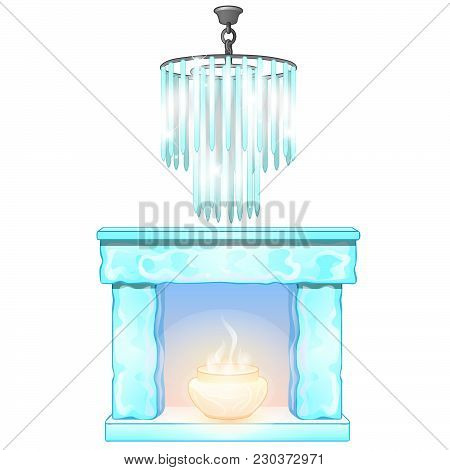 Ice Fireplace And Vintage Crystal Chandelier. Vector.