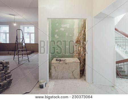 Interior Of Apartment  During Construction, Remodeling, Renovation, Extension, Restoration And Recon