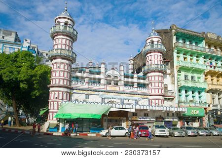Yangon, Myanmar - December 17, 2016: A View Of The Bengali Sunni Jamae Mosque On A Sunny Afternoon