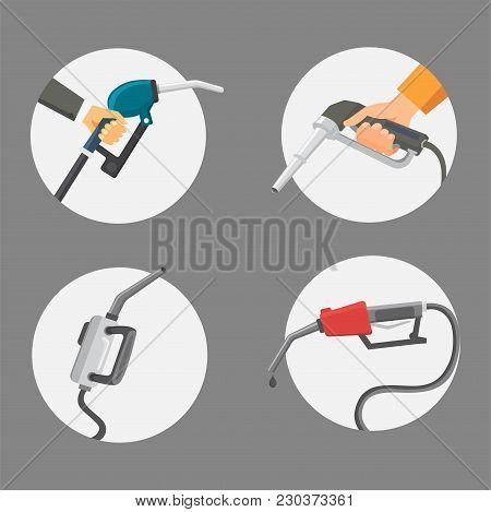 Filling Gas Station Pistol Vector Illustration. Chemistry Refinery Refueling Petroleum Tank Service.