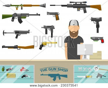 Weapon Banner With Men Choosing Gun And Shooting At Charges Vector Illustration. Revolver Decorative