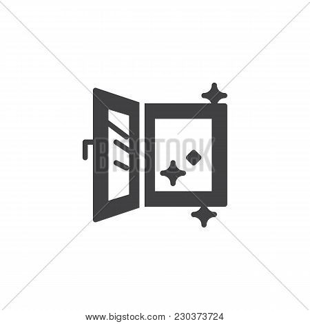 Open Clean Window Vector Icon. Filled Flat Sign For Mobile Concept And Web Design. Window Cleaning S