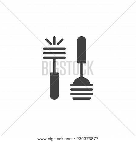 Plunger And Toilet Brush Vector Icon. Filled Flat Sign For Mobile Concept And Web Design. Toilet Was