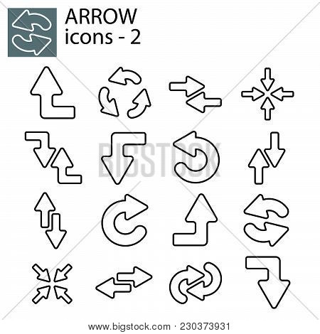 Web Icons Set - Line Arrows Black On White Background