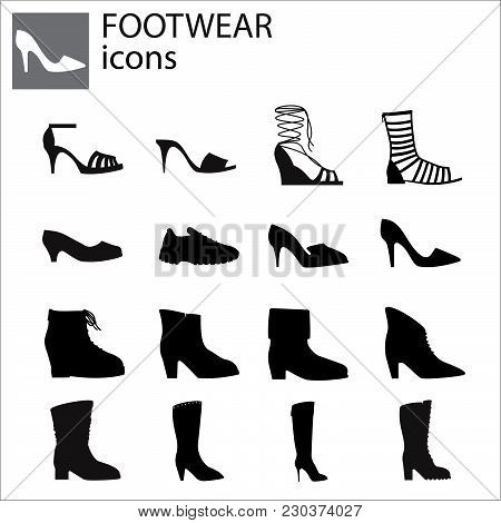 Shoes Set Vector Black On White Background
