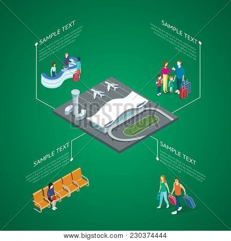 Isometric View Of Airport Building And Tourists Walking With Luggage And Standing At Reception.
