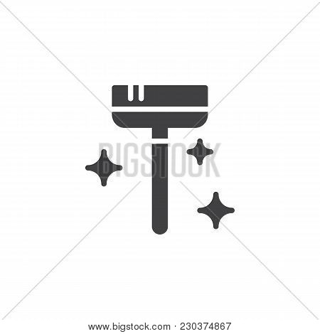 Clean Broom Vector Icon. Filled Flat Sign For Mobile Concept And Web Design. Maid Service Simple Sol