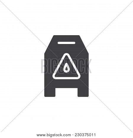 Slippery Wet Floor Vector Icon. Filled Flat Sign For Mobile Concept And Web Design. Warning Cleaning