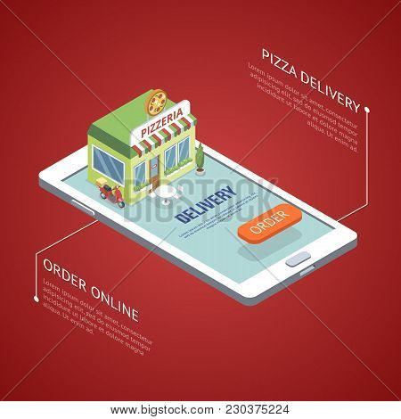 Isometric View Of Pizzeria Placed On Smartphone With Online Order And Delivery Commerce.