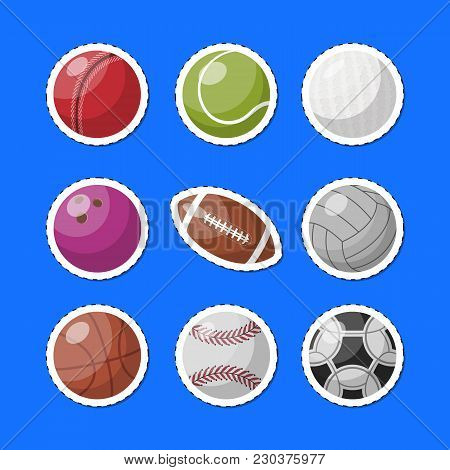 Arranged Iconic Set With Assorted Balls For Different Sport Games On Blue Backdrop.