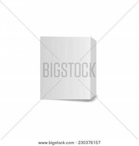 Small Rectangular Gray Cardboard Box Isolated On White.