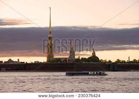 Water Walk At The Peter And Paul Fortress In The Evening Of May. Saint-petersburg, Russia
