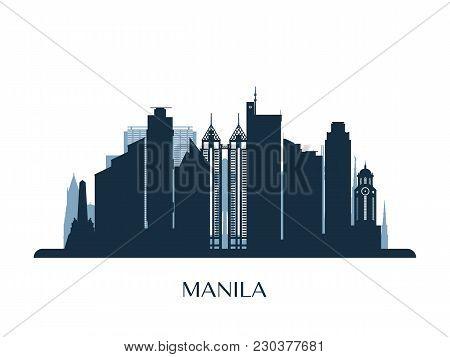 Manila Skyline, Monochrome Silhouette. Design Vector Illustration.