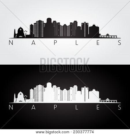 Naples Usa Skyline And Landmarks Silhouette, Black And White Design, Vector Illustration.