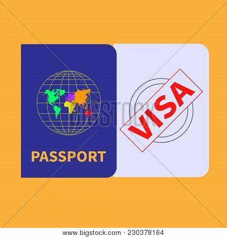 Foreign Passport And Visa Stamp. Flat Design. Vector Illustration.