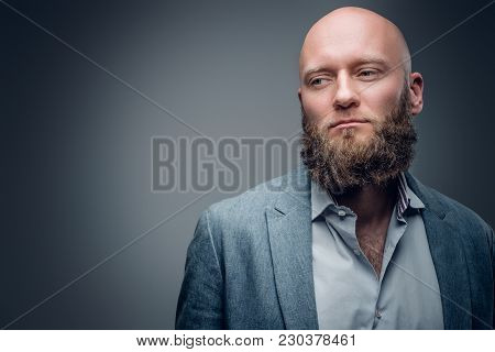 Portrait Of Elegant Bearded Hairless Male In A Suit On Grey Vignette Background.