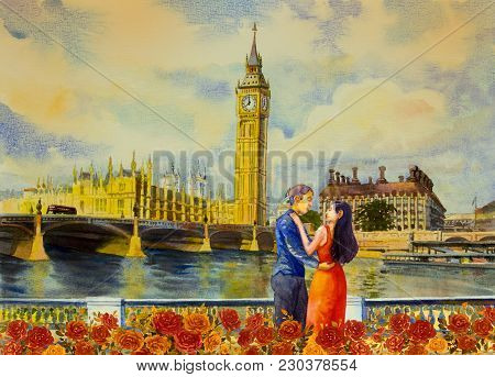 Men And Women In Evening Dress At View Big Ben Clock Tower And Thames River In London At England. Wa