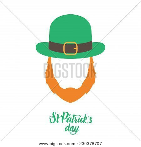 Irish Elf With Red Beard And Green Hat. St. Patricks Day. Vector Illustration.