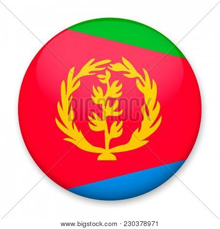 Flag of Eritrea in the form of a round button with a light glare and a shadow.