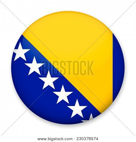 Flag of Bosnia Herzegovina in the form of a round button with a light glare and a shadow.