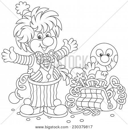 Friendly Smiling Circus Clown In A Funny Suit With His Toys In A Suitcase, A Black And White  Vector