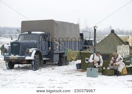 Saint Petersburg, Russia - January 14, 2018: Opel Blitz Is A German Truck In A Military Camp. Fragme