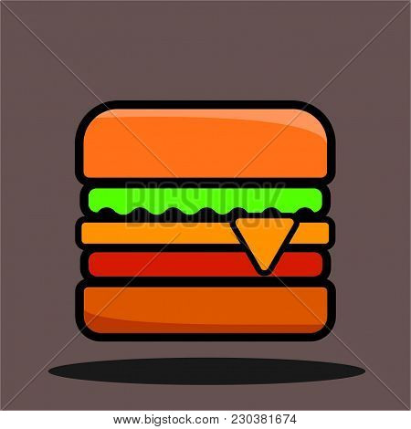 Vector Cartoon Burger With Cheese, Meat And Salad Icon Isolated On White Background.tasty Gourmet Bu