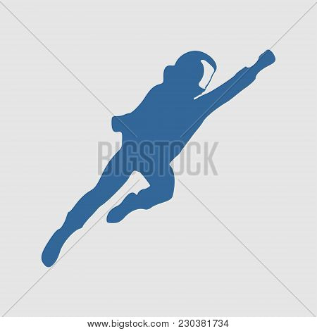 Flying Stronaut In Spacesuit. Monochrome Silhouette. Fantastic Person