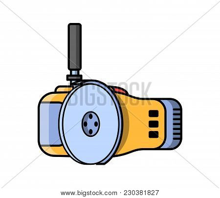 Angle Grinder Construction Electric Tool. Flat Style Icon Of Angle Grinder. Vector Illustration.