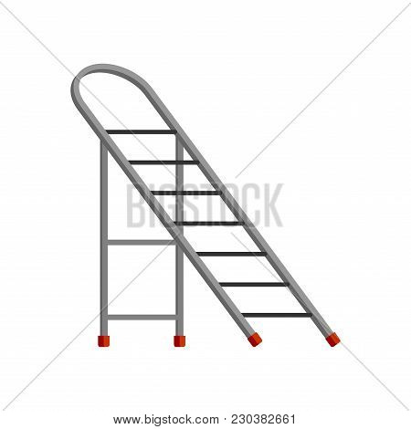 Step Ladder Isolated. Sliding Portable Ladder. Vector Illustration