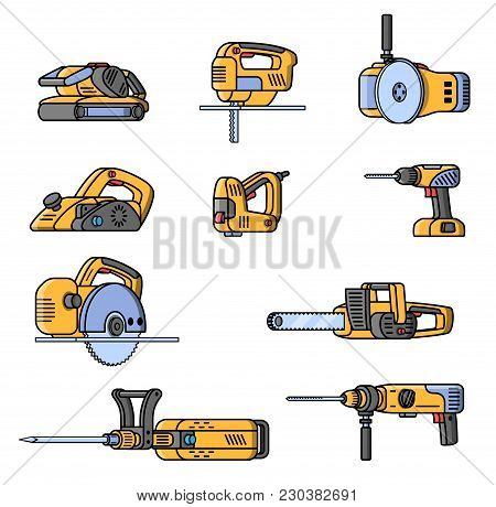Set Of Electric Construction Tools. Flat Style Professional Builder Tool. Angle Belt Grinder, Chains