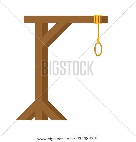 Gallows Are Isolated. Wooden Post And Loop.