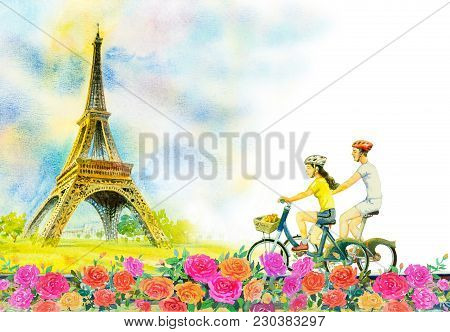 Paris European City Landscape. France, Eiffel Tower And Couple Love Man, Woman, Cycling Tour In Rose
