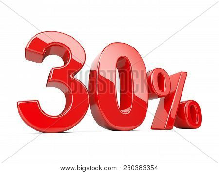 Thirty Red Percent Symbol. 30% Percentage Rate. Special Offer Discount. 3d Illustration Isolated Ove