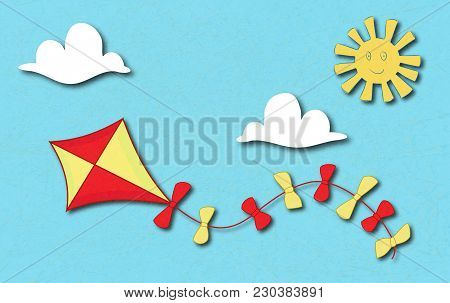Colored Kite Flies On Background Of Blue Sky. Concept Of Freedom, Ease Of Life, Holiday, Vacation Ti