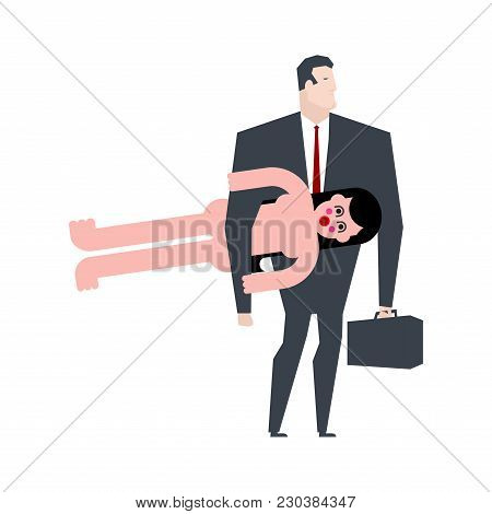 Businessman And Inflatable Sex Doll. Boss To Carry Inflatable Woman. Vector Illustration