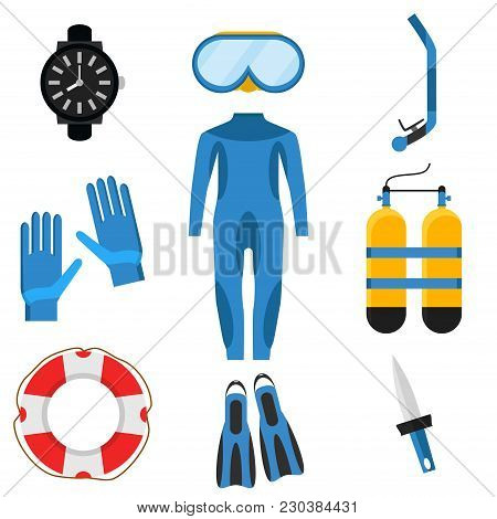 Collection Of Scuba Diving. Diver Wetsuit, Scuba Mask, Snorkel, Fins, Oxygen Cylinders, Lifebuoy, Fl
