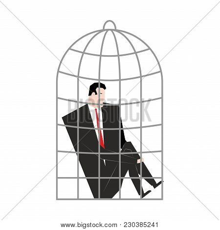 Businessman In Cage. Boss Is Trapped. Vector Illustration.