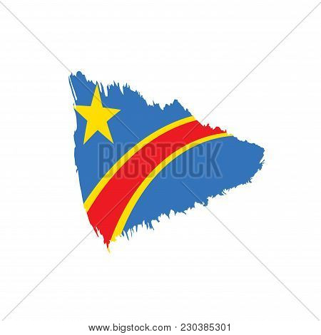 Democratic Republic Of The Congo Flag, Vector Illustration On A White Background