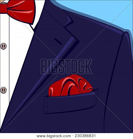 Vector Illustration Of A Blue Man Suit With Red Bow-tie And Pocket Square, White Shirt On The Blue B