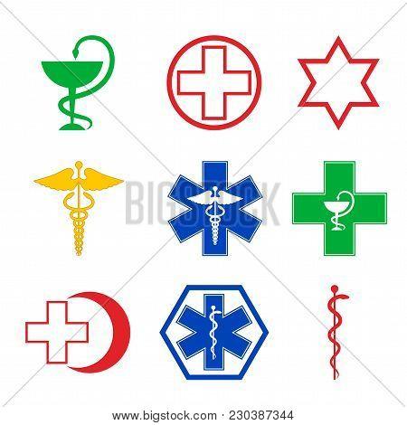 Set Of Medical Emblems, Vector, Caduceus, Pharmacy, Snake, Illustration, Medicine