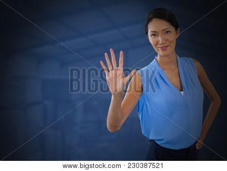 Digital composite of Businesswoman holding hand open