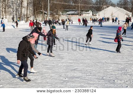 Saint Petersburg, Russia - March 04, 2018: A Lot Of People Are Skating In The Central Park Of Cultur