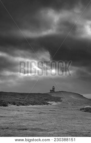 Stunning Black And White Landscape Image Of Belle Tout Lighthouse On South Downs National Park Durin