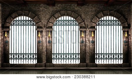 Medieval Castle Arches With Iron Castle Railings Isolated On White Background.3d Illustration.